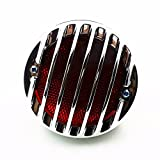 Round 4' Grill Invader Tail Brake Light Lamp For Harley Honda CB Kawasaki Suzuki Yamaha Sportster Bobber Cruiser Chopper XL Rat Vintage Retro Hot Rod Duo Cafe Racer (Chrome)