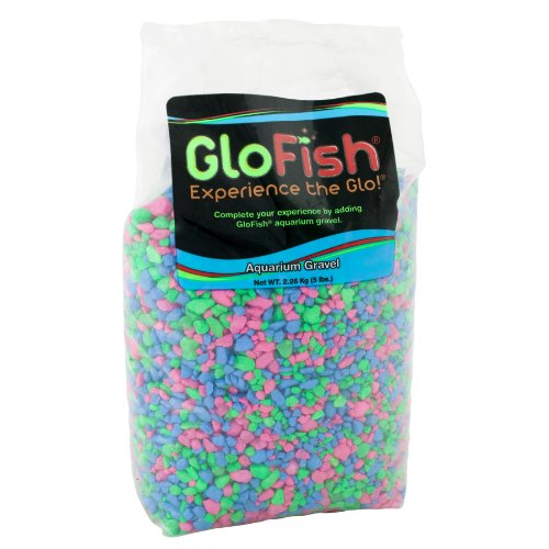 GloFish Aquarium Gravel, Pink/Green/Blue Fluorescent, 5-Pound, Bag Pink/Green/Blue Fluorescent, 4 x 5 x 9 inches ; 5 pounds (29085)