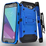 Samsung Galaxy J3 Luna Pro/J3 Eclipse/J3 Emerge/J3 Mission/J3 Prime/Express Prime 2/Amp Prime 2/Sol 2/J3 2017 Case, with Tempered Glass Screen Protector, Heavy Duty Cover and Kickstand Belt Clip-Blue
