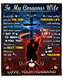Personalized to My Wife Fleece Blanket from Husband with Art Print Romantic Couple and Cross Christ Jesus Sweet Message for Wife Customized Blanket Gifts for Valentine's Day Wedding Anniversary