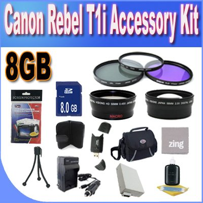 Canon T1I Accessory Saver Kit (58mm Wide Angle Lens + 58mm 3 Piece Filter Kit + 8GB SDHC Memory + Accessory Saver Bundle)