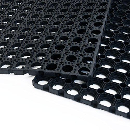 Tapis caillebotis en caoutchouc etm® Octo Door | épaisseur 16mm | fonction tapis brosse + tapis anti-fatigue | usage PRO | tailles au choix - 100x150cm