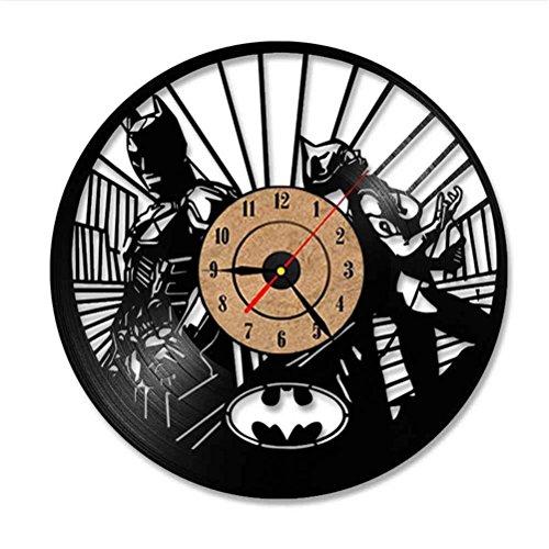 Accueil Mode Batman Et Catwoman Vinyle Record Horloge Murale Design Moderne Salon Calme avec Couleurs 7Led Horloge Murale, B, Z-B, a