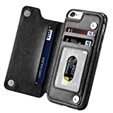 Aprilday iPhone 6S Plus Wallet Case,iPhone 6 Plus Slim Fit Wallet Case for Women/Men, Premium iPhone 6 Plus Leather Purse Case Durable Shockproof Cover with Wallet&Card Holder&Kickstand -5.5in Black