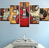 JHDGG Cuadro en Lienzo Guitarra eléctrica 200×100 cm 5 Partes Arte Formato Grande Impresion en Calidad Fotografica Cuadro en Lienzo Tejido-No Tejido(Sin Marco)