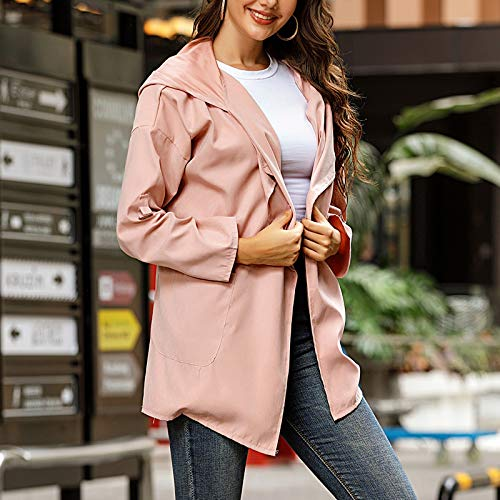 LWWOG Women'S Windbreaker Long-Sleeved Mid-Length Hooded Daily Versatile Casual Fashion Temperament Jacket