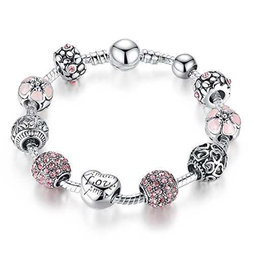 YOUFENG Jewellery Queen Bead Charms European Style Blue Murano Glass Bead Bracelets Love Heart Dangle Charms Woman Jewelry (Amor Cupid Charm Bracelet)