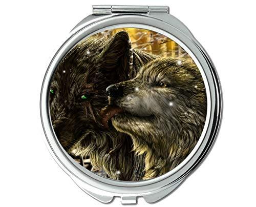 Yanteng Spiegel, Runder Spiegel, Dunkler Werwolf, taktischer Taschenspiegel, 1 X 2-Fach Vergrößerung