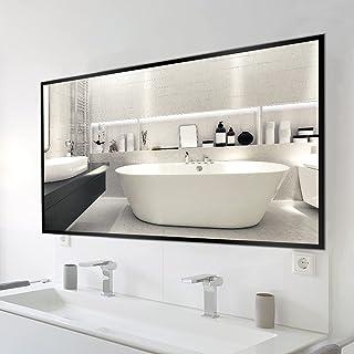 LYCXAMES 60x80cm Grand Miroir Mural Rectangulaire avec Cadre Noir en Métal Mirioir Meuble Salle de Bain pour Maquillage, E...