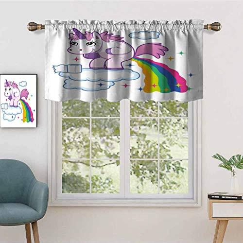 Hiiiman Curtain Valances Rod Pocket Window Curtains Unicorn Pooping Rainbow Over Clouds Creative Kids Girls Fairy, Set of 1, 42'x18' for Kitchen Window