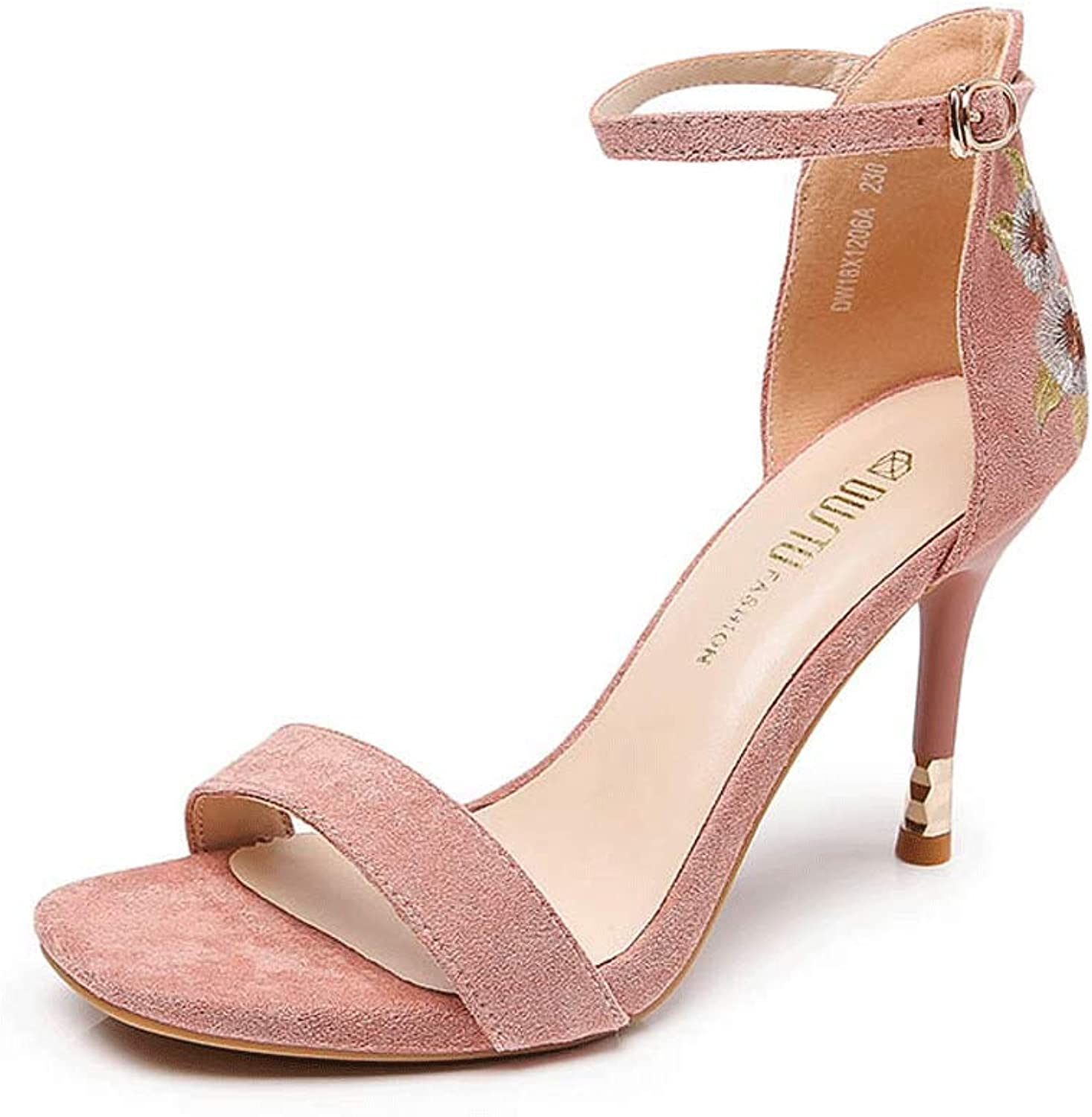 Embroidered Sandals Suede Open Toe Ladies Flower High Heels (color   Pink, Size   EU36 UK3.5 CN35)
