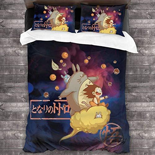 Goku u0026 Totoro Ropa de Cama colchas de 3 Piezas Juego de Funda nórdica Juego de Funda nórdica algodón Premium, edredón Estampado, Funda con Cierre de Cremallera C602