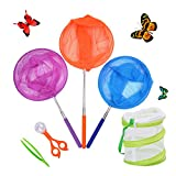 DEWEL 3 Pack Colored Telescopic Butterfly Nets for Kids Bug Insect Catching Net Extendable 34 Inches,Pop up Insect Mesh Cage,Butterfly Tweezers