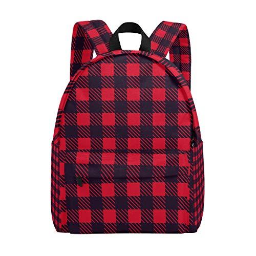 Tizorax Rucksack für Damen, Mädchen, Teenager, kariert, leicht, Rot/Schwarz