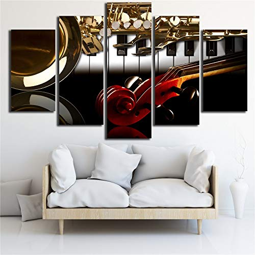 HD Prints Frame Decor voor de woonkamer muur 5 stuks piano viool muziekinstrumenten schilderij poster modulaire canvas foto's kunst 40x60cmx2 40x80cmx2 40x100cmx1 Frame