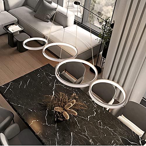 GBLY LED Pendelleuchte esstisch Hängelampe Dimmbar mit Fernbedienung 54W Esstischlampe Weiß Schlafzimmerlampe in Ringoptik Höhenverstellbar für Wohnzimmer Büro Esszimmer Schlafzimmer Arbeitszimmer
