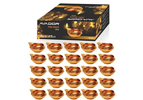 Avador - Lámpara de latón Hecho a Mano para Diwali Pooja D