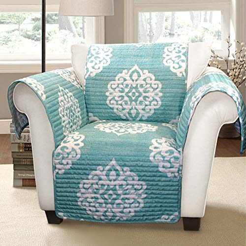 Lush Decor Sophie Furniture Protector-Bold Pattern Armchair Cover-Blue
