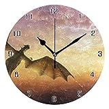 gdingxiantengsubaihuoshang Pete 's Dragon World Runde Wanduhr Wohnkultur Uhr Batteriebetriebene Stille Nicht-Ticken Tischuhr für Zuhause, Büro, Schule (10 Zoll)