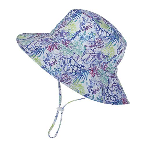 LACOFIA Sombrero de Sol para bebé niño Ajustable Gorro Verano de Pescador para niños ala Ancha para Exteriores/natación/Playa/Piscina