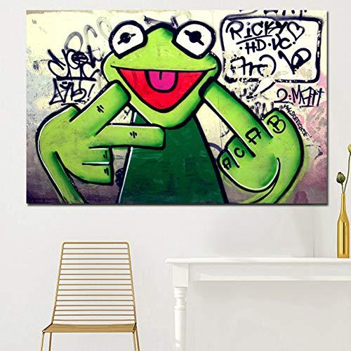 tzxdbh Straat Graffiti Art Frog Kermit Vinger Poster Print Canvas Schilderen Dier Olie Schilderen Muur Foto's Voor Woonkamer Unframed-in Schilderij & Kalligrafie van Huis & Tuin 16x26cm With Frame