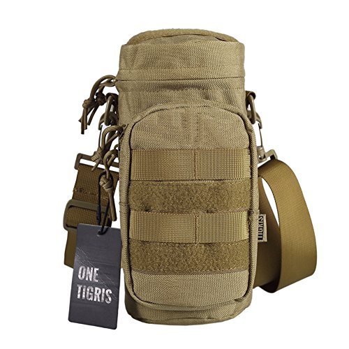 OneTigris Sniper Bottle Pouch 1000D Nylon Tactical EDC Water Bottle Carrier with Detachable Shoulder Strap (Coyote Brown-Nylon)