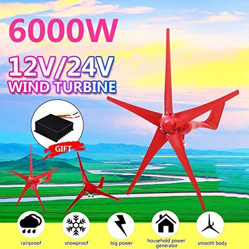 NAWS Generador de turbinas eólicas, 6000 W, 5 Cuchillas, opción de 12 V / 24 V con Controlador de Viento para el hogar, Camping, Accesorio de Montaje de farola