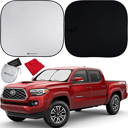 Shinematix 2-Piece Windshield Sun Shade - Foldable Car Front Window Sunshades...