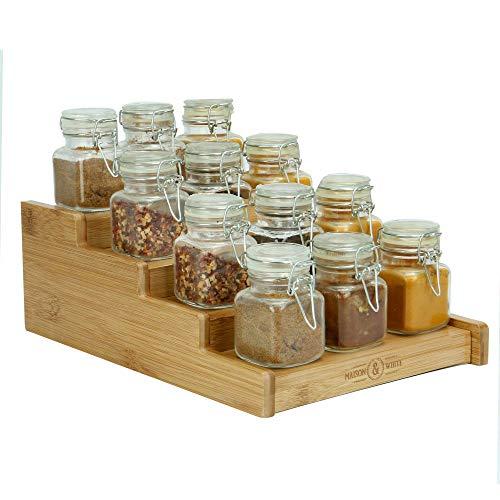 Estante de especias de bambú de 4 niveles   Organizador especias expandible   Armario de cocina de almacenamiento   Organizadores de baño   Estantes para especias   M&W