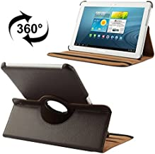 Premium PU Leather Exterior Tablet Case Compatible With Samsung Galaxy Tab 2 (10.1) / P5100 360 Degree Rotatable Litchi Texture Leather Case With Holder (Color : Brown)