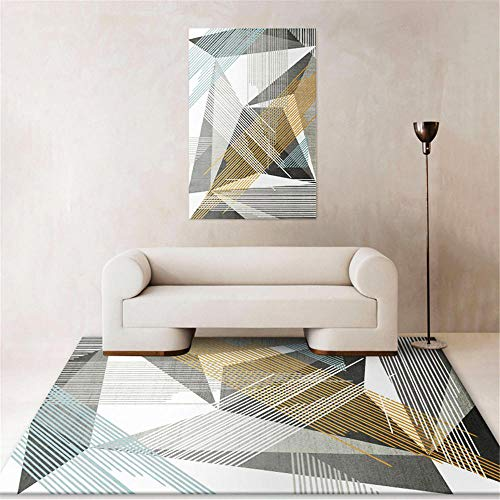 Kunsen Teppich Outdoor Grauer Abstrakter kreativer geometrischer moderner Teppich Teppich nach Mass Waschbare und Pflegeleichte dekorative Teppiche Wohnzimmergroßer Teppich Schlafzimmer rut180x280CM