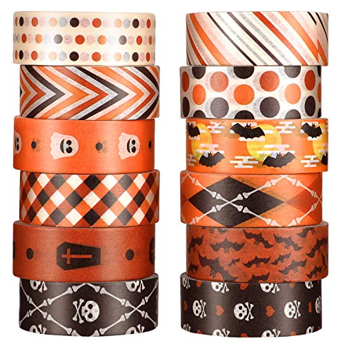 12 Rolls Halloween Washi Tape with Bat Ghost Bones Patterns DIY Halloween Tape Halloween Wrappings Tapes Kits for Halloween Festivals DIY Decorations