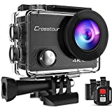Crosstour Action Cam 4K WiFi 20MP Action Camera LDC Subacquea 30M con Custodia Impermeabile IP68 e Telecomando