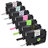 Freshworld Compatible Label Tape Replacement for Brother P Touch TZ 12mm 0.47Inch Laminated Label Maker Tape (White/Gold/Green/Berry Pink/Purple/Blue/Pink),for P-Touch PT D210 H110 D600 1230PC 1280,7P