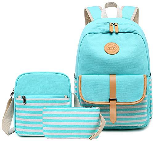 BLUBOON Canvas Bookbags School Backpack Laptop Schoolbag for Teens Girls...