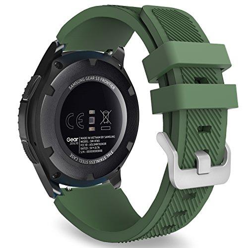 MoKo Kompatibel mit Huawei Watch GT 2e/Huawei Watch GT 2 46mm/Gear S3 Frontier/S3 Classic/Galaxy Watch 46mm/Huawei Watch GT 46mm/Ticwatch Pro, 22mm Silikon Sportarmband, Armee Grün