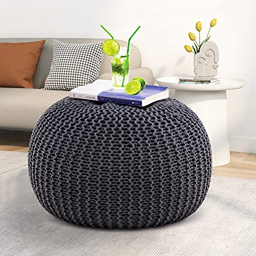 VINGLI Round Pouf Ottoman Footstool Poof Pouffe Accent Chair Circular Seat Footrest for Living Room, Bedroom, Nursery, kidsroom, Patio,...