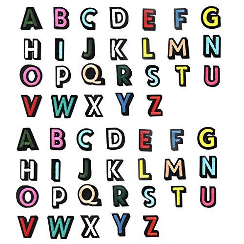 Jinlaili 52 Stück Aufnäher zum Aufbügeln, Gesticktem Patch mit A-Z Buchstaben, Alphabet Applikationen Patches, Buchstaben Dekorativer Patches für Hüte Kleidung Taschen DIY Basteln Stoff Flicken