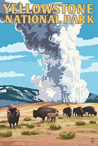 Yellowstone National Park, Wyoming - Old Faithful Geyser and Bison Herd (9x12 Art Print, Wall Decor Travel Poster)