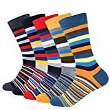 Cotton Idea Men's 5-pair Funky Striped Pattern Colorful Cotton Dress Crew Socks For Business Casual,Men Socks-a,US 7-11