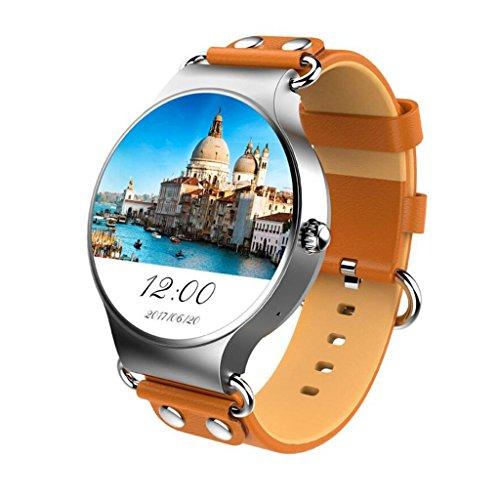 Smartwatch Android 5.1 3G 1,39 Zoll MTK6580 1,3 GHz Quad-Core-Rundbild-Smartwatch (braun)