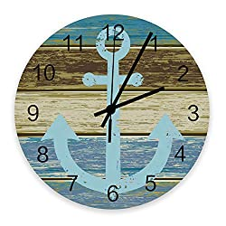 ArneCase Round Wall Clock, Wooden Silent Clock Anchor on Weathered Blue Wooden Planks Rustic Nautical Theme Non-Ticking Quartz Clock for Home Decor Battery Operated 12 Inch