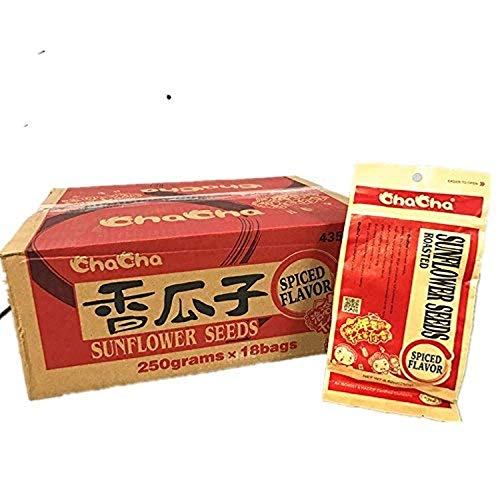 Chacha Sunflower Roasted and Salted Seeds (Spiced Flavor) 250gX 18bags …