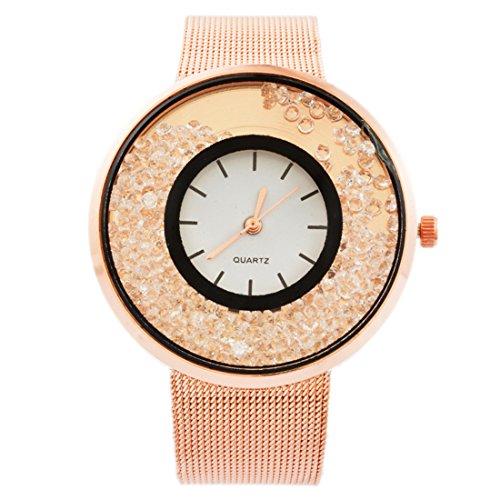 MJartoria Damen Vintage Armbanduhr Quarz Uhr Modeschmuck Milanaiseband Mode Design mit Strass Rosagold Farbe (Rosegold)