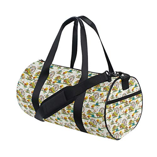 PONIKUCY Sports Gym Bag,Ferris Wheel Funfair At Autumn Season With Colorful Trees Balloons And Tent Pattern,Holdall Gym Bag Sports Duffel Bag with for Weekender Overnight Carry