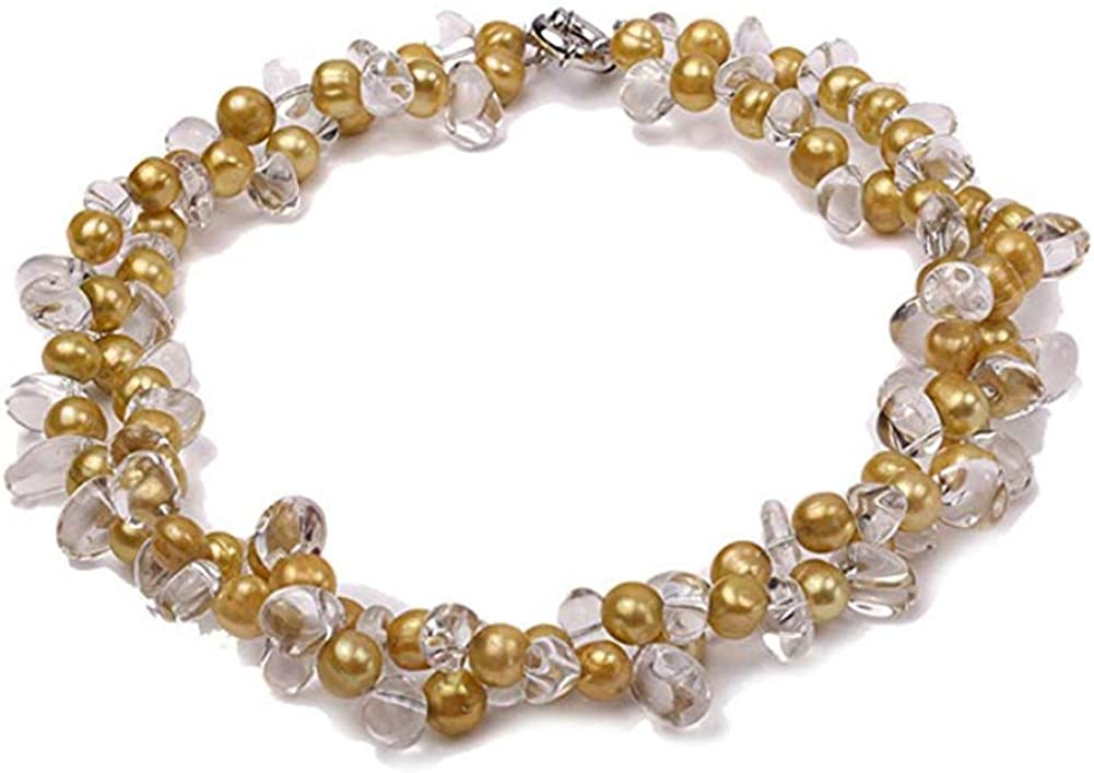 JYX Two-Strand Pearl Necklace for Women Natural 6x8mm Freshwater Pearl and 7x9mm White Quartz Beads Necklace