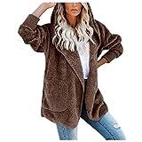 Abrigo de manga larga para mujer, forro polar sólido, abierto, con capucha, chaqueta de exterior con bolsillo café L