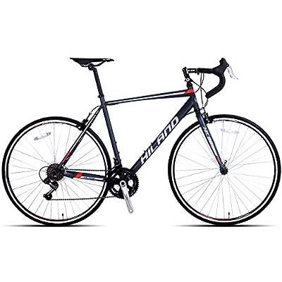 Hiland Road Bike Steel 700C Racing Bicycle for Men Urban City Commuter Bike Shimano 14 Speed Bike Black 58cm