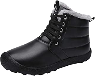 ✿HebeTop✿ Winter Snow Boots for Men Suede Cotton Warm Fur Lined Ankle Boots Outdoor Anti-Slip Waterproof Booties Lace Up Platform Shoes