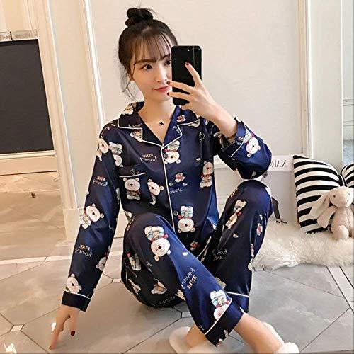 XFLOWR Damen-Schlafanzug aus Satin, weich, Motiv süßer Teddybär, Schlafanzug für Mädchen, blau, L